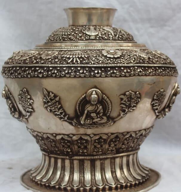 JP-S0524-Details-about-12-Tibet-Buddhism-Silver-8-Auspicious-Symbols-Shakyamuni-font-b-Offering-b